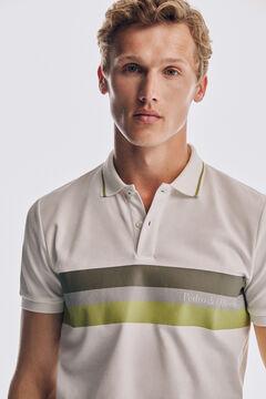 Pedro del Hierro Technical short-sleeved polo shirt Ecru