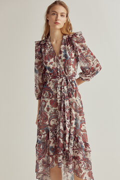 Pedro del Hierro Printed wrap dress Beige