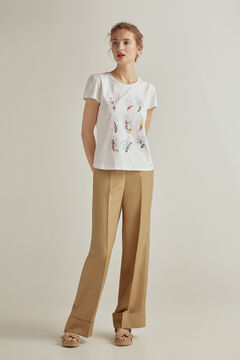 Pedro del Hierro Embroidered short-sleeved T-shirt Ivory