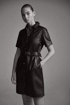 Pedro del Hierro Leather dress Black