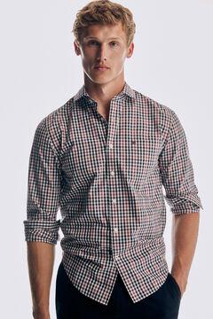 Pedro del Hierro Camisa xadrez soft non iron algodão Vermelho