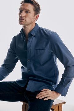 Pedro del Hierro Plain cotton twill shirt Blue