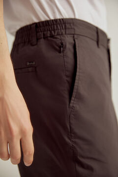 Pedro del Hierro Lightweight slim fit technical trousers with elasticated waistband Black