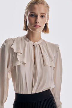 Pedro del Hierro Blouse with notched mandarin collar Brown