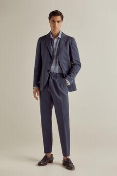Pedro del Hierro Regular fit textured linen trouser separates Blue