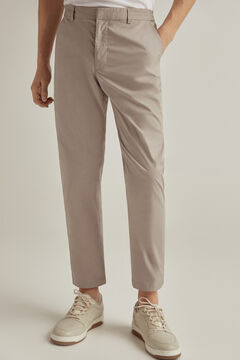 Pedro del Hierro Lightweight slim fit technical trousers with elasticated waistband Grey
