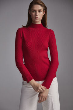 Pedro del Hierro Two-tone herringbone patterned mock turtleneck jumper Red