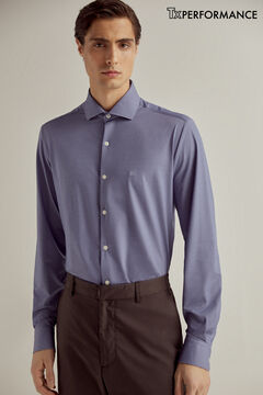 Pedro del Hierro Technical fabric slim dress shirt Blue