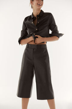 Pedro del Hierro Leather trousers Black