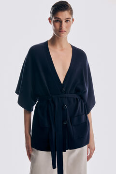 Pedro del Hierro Belted ribbed cardigan Blue
