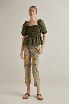 Pedro del Hierro Straight printed trousers Green
