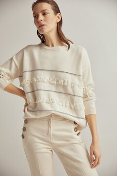Pedro del Hierro Oversize striped and fringed jumper Beige