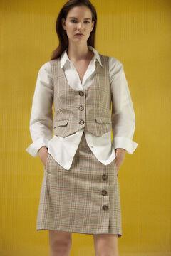 Pedro del Hierro Short checked fabric skirt Beige