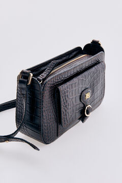 Pedro del Hierro Crocodile embossed leather mini crossbody bag Brown