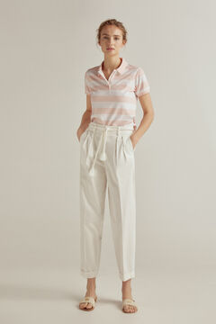 Pedro del Hierro Short-sleeved stripy polo shirt Pink