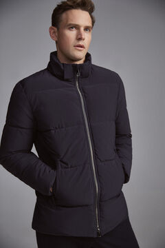 Pedro del Hierro Quilted parka with hood Blue