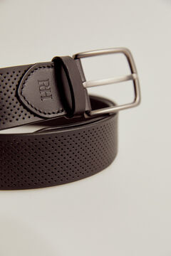 Pedro del Hierro Perforated leather belt Black