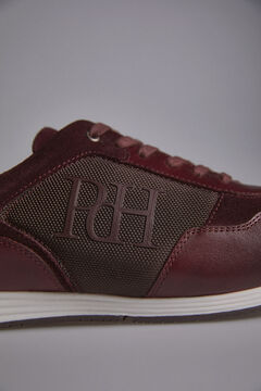 Pedro del Hierro Leather and nylon icon sneaker          Red