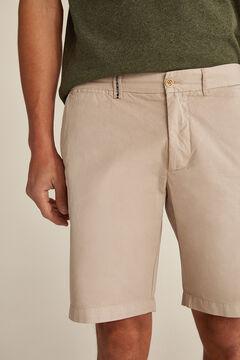 Pedro del Hierro Essential plain pima cotton Bermuda shorts Beige