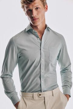 Pedro del Hierro Camisa lisa soft non iron algodão Verde