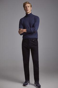 Pedro del Hierro Pantalón 5 bolsillos color micro estampado slim Azul