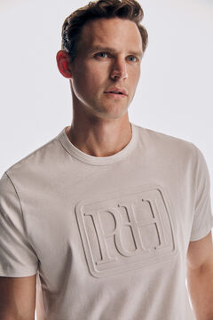 Pedro del Hierro Camiseta logo manga corta Ecru