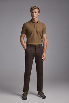 Pedro del Hierro Regular fit micro-print herringbone chinos Brown