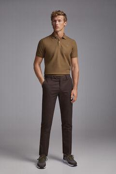 Pedro del Hierro Pantalón chino regular micro estampado espiga Brown