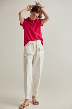 Pedro del Hierro Short flounced sleeves polo shirt Red