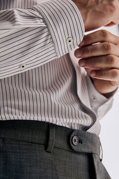 Pedro del Hierro Slim fit striped super stretch dress shirt  Black