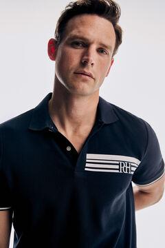 Pedro del Hierro Printed short-sleeved polo shirt Blue