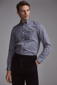 Pedro del Hierro Melange checked shirt Blue