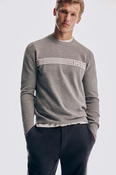 Pedro del Hierro Crew neck piqué textured jumper Grey