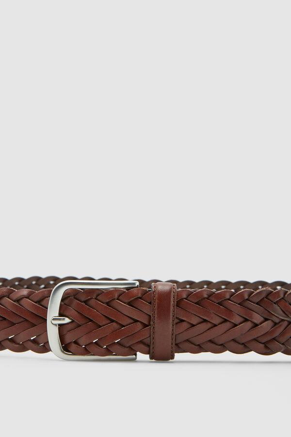 d87eda11e1f Pedro del Hierro Braided casual leather belt Brown