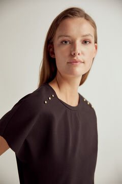 Pedro del Hierro Wide fit crew neck t-shirt with short sleeves, side slit and shoulder pleats with gold stud detail Black