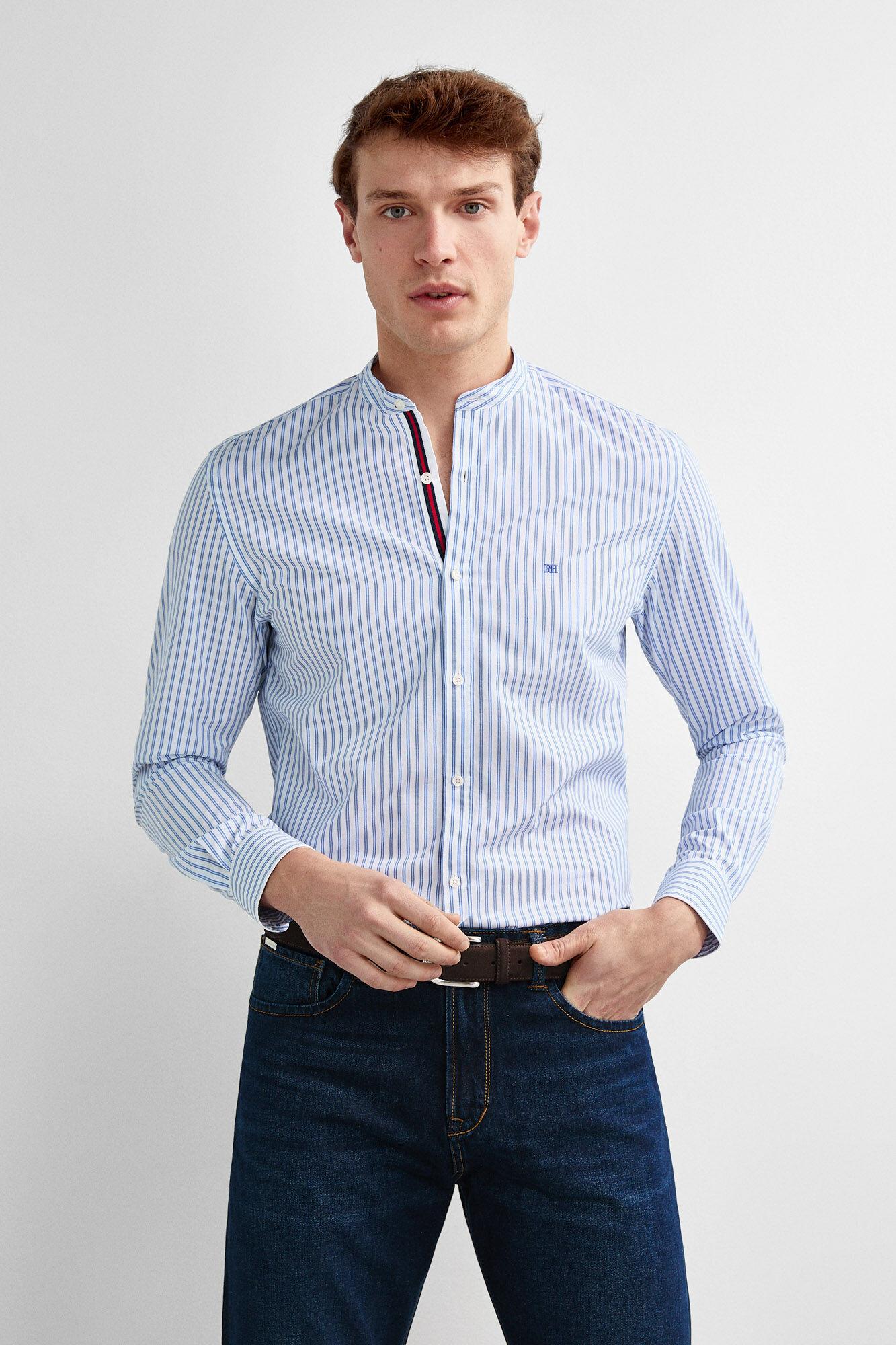 08fb4d458 Pedro del Hierro Camisa cuello mao rayas Azul
