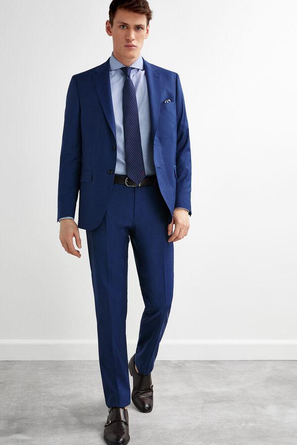 7021fbf109 Pedro del Hierro Pantalón traje microfantasía tailored fit Azul