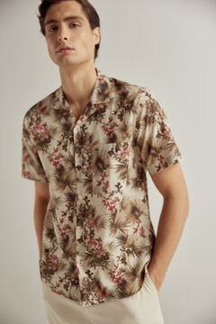 Pedro del Hierro Printed Italian fabric short-sleeved cap collar shirt Brown