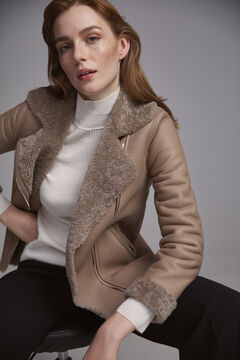 Pedro del Hierro Perfect leather jacket Brown