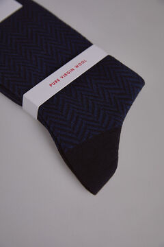 Pedro del Hierro Herringbone wool socks Blue