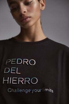 Pedro del Hierro T-shirt with metallic relief slogan Black