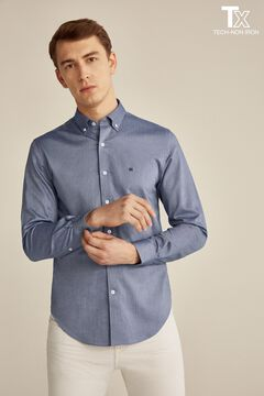 Pedro del Hierro Plain Tech Non-Iron cotton shirt Blue