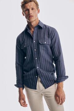 Pedro del Hierro Striped linen and cotton shirt Blue