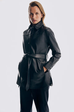 Pedro del Hierro Leather belted over garment Blue