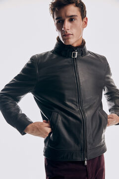 Pedro del Hierro Leather jacket fur collar Brown