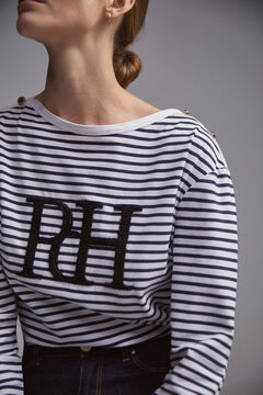Pedro del Hierro Striped logo t-shirt Blue