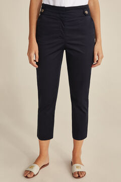 Pedro del Hierro Pleated waistband trousers Blue