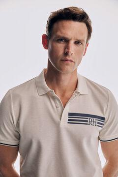 Pedro del Hierro Printed short-sleeved polo shirt Ecru