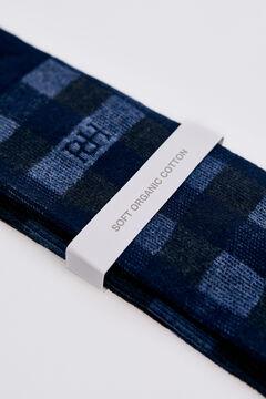 Pedro del Hierro Checked logo socks Blue