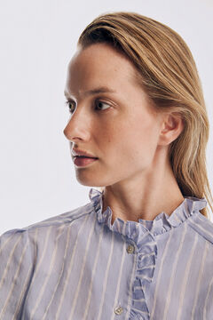 Pedro del Hierro Striped blouse with flounce collar Blue